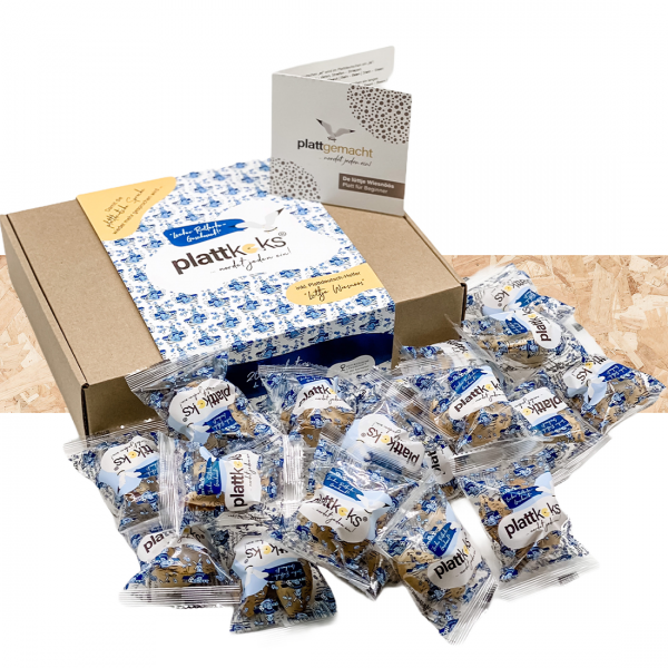 """Original Plattkeks® 20er Geschenkbox """"Blaue Mühle"""""""
