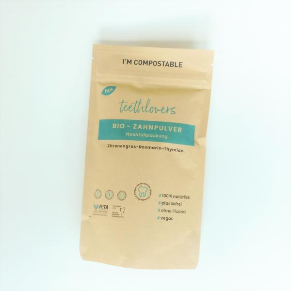 Bio-Zahnpulver Nachfüllpackung Zitronengras-Rosmarin-Thymian