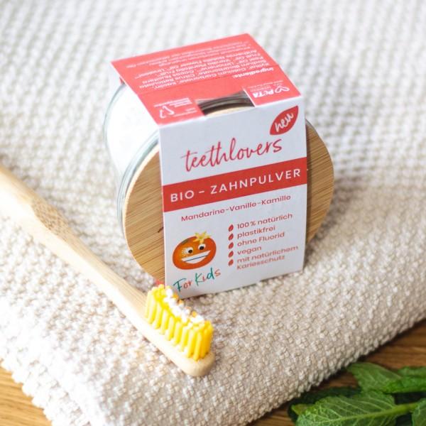 Bio Zahnpulver für Kinder – Mandarine-Vanille-Kamille