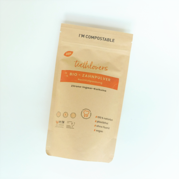 Bio-Zahnpulver Nachfüllpackung Zitrone-Ingwer-Kurkuma