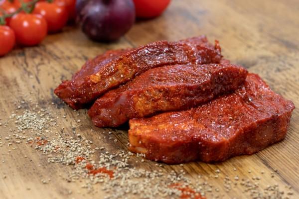 Schweinenackensteaks Paprika, rot